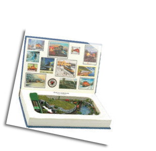 "Miniature Train Layout - Book with a  4""x7"" Oval with Scenery Inside!"